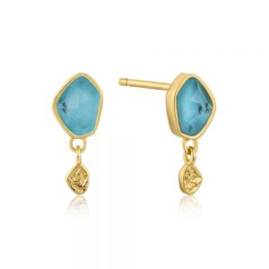 Ania Haie – Turquoise Drop Stud Earrings Gold