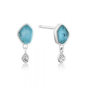 Ania Haie – Turquoise Drop Stud Earrings Silver