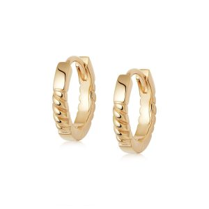 Daisy London – Stacked Rope Huggie Hoop Earrings – Gold