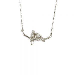 Alex Monroe – Cosy Lovebirds Necklace Silver