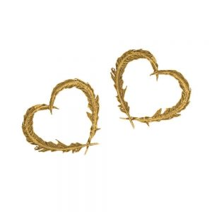 Alex Monroe – Delicate Feather Heart Studs Gold