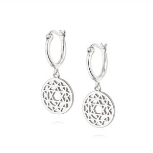 Daisy London –  Heart Chakra Drop Earrings – Silver