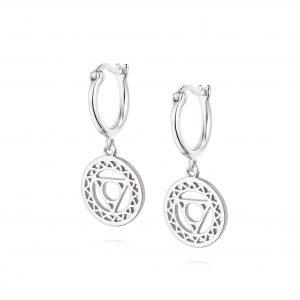 Daisy London –  Throat Chakra Drop Earrings – Silver